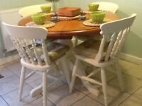Farmhouse dining table (4) chairs