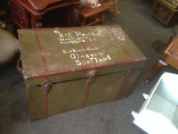 Wonderful Large Metal Antique Old Luggage/Steamer Travel Storage Chest Trunk Coffee Table