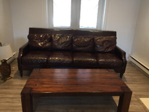 Classic Leather Couch - Dark Brown