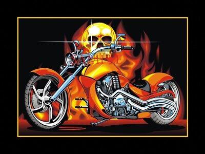 Chopper Biker Motorcycle With Flaming Skull Car Home Garage Door Floor Mat Rug