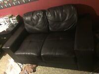 Brown faux leather love seat and chair, like new $250 for both