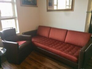 Condo style slick sofa and matching leather armchair excellent c