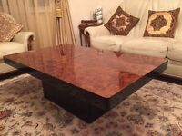 Italian mahogany coffee table with inbuilt mirrored bar