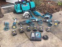 Makita 18 volt set grinder torch sds drill 2 drills impact planner skil saw Hoover 6 batteries bag