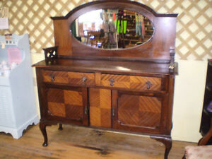 Unique Early Sideboard Buffet w/ Mirror