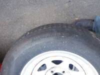 """2 15"""" trailer wheels 225 /15 tire's not bad but for rims asking"""