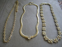 Vintage,Gold Tone Heavy 3 Necklace Jewellery Chains Fashion