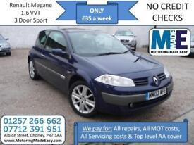 **£35 A WEEK** Renault Megane 1.6 VVT 3Dr Sport, 12M MOT, EW CD RCL Alloys