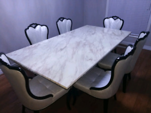 Beautiful Marble Dining Table + 6 Chairs