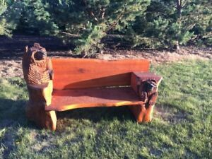Cedar chainsaw carved benches