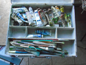 Oil Painting Complete Kit Brushes, Paints, Tools and Case