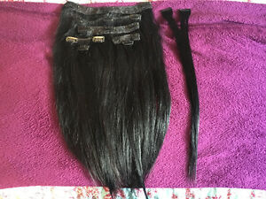 18inch Real Clip in Hair Extensions- Black
