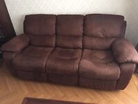 3 Seater Choc Brown Sofa Recliner & Single Seater Recliner Rocker