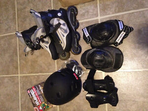 $80 rollerblades, helmet and pads