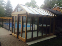 Glass inserts for Greehouse, pool enclosure, cottage, deck raili
