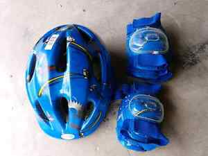Bike helmet, elbow and knee pads.