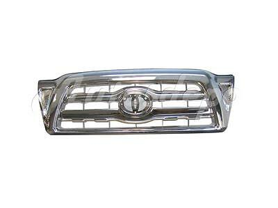 For 2005 2011 Tacoma Grille All Chrome Frame With Silver Vertical Inserts