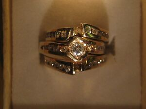 Diamond Ring with Two Matching Bands