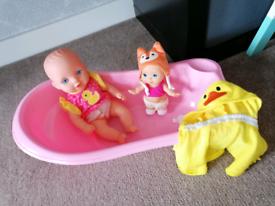 Baby doll and bath