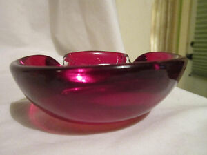 Vintage Bohemian Ruby Red Flash Glass Large Bowl Selling Well All Over The World Bohemian/czech