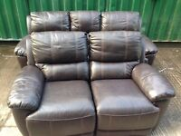 Harvey's leather reclining 3+2 seater sofa set ex display model and reclining armchair