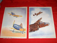 2 COLOR PRINTS-MITCHELL-FAIRCHILD-1940'S-REED KINERT-WW 2