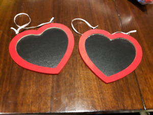 2 unused red heart chalkboard signs from wedding