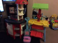 Toy kitchen , food stall and Hoover