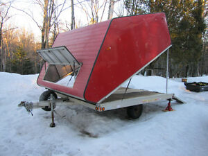 DOUBLE WIDE ENCLOSED SNOWMOBILE TILT TRAILER WITH RAMP