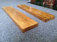 Solid pine floating shelves