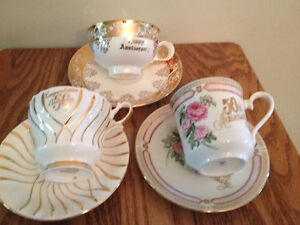50TH ANNIVERSARY CHINA CUPS AND SAUCERS