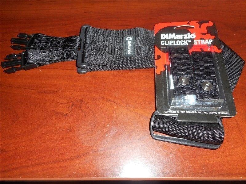 """DiMarzio 3"""" Clip Lock Nylon Black Guitar Strap"""