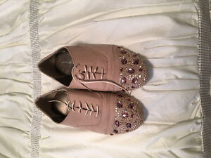 Crystal Studded flat suede shoes