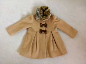 Girls Monsoon camel faux fur occasion coat (aged 2-3)