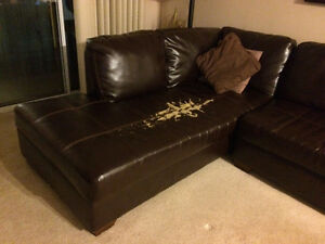 Brown Leather Sectional w/ Single Chair Windsor Region Ontario image 1