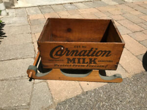 VINTAGE CARNATION MILK WOODEN BOX CRATE