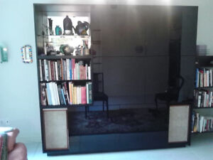 ELEGANT Black Glossy Wall Unit - 7 feet wide and 7 feet tall