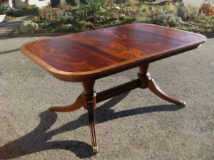 "Superb High End 105"" Flame Mahogany Dining Table, Chairs, Buffet"