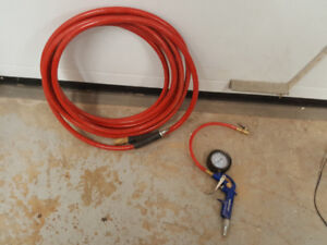 3/8 by 25 foot air hose and tire gauge
