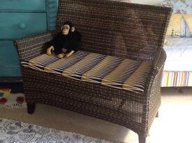 Rattan/ wicker 2 seater sofa with cushion