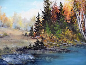 """Panoramic Countryside by E. Benninger """"Across the River"""" 1970's Stratford Kitchener Area image 3"""