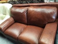 QUALITY TAN LEATHER 2 SEATER SOFA - EXCELLENT CONDITION