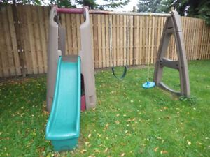 Swing Set With Slide And Playhouse