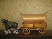 Vintage hand crafted Clydesdale Horse and Wagon