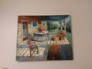 Hand painting oil, table and chairs