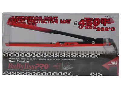 "Babyliss Pro Nano Titanium/Sol-Gel Flat Iron 1"" up to 450°F FREE Protective Mat"