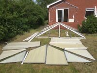 Large white uPVC conservatory 3.5m x 3m professionally dismantled, parts numbered