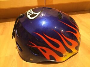 Boys snowboard helmet blue with flames