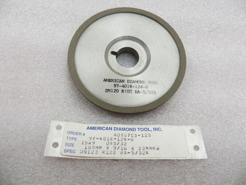 "100 mm x 9/16"" x 20 mm Keyway Diamond 15A9 Saucer Grinding Wheel New 120 Grit"