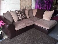 New Corner Sofa Right Hand Corner Chaise Sofa in Chocolate Brown and Beige